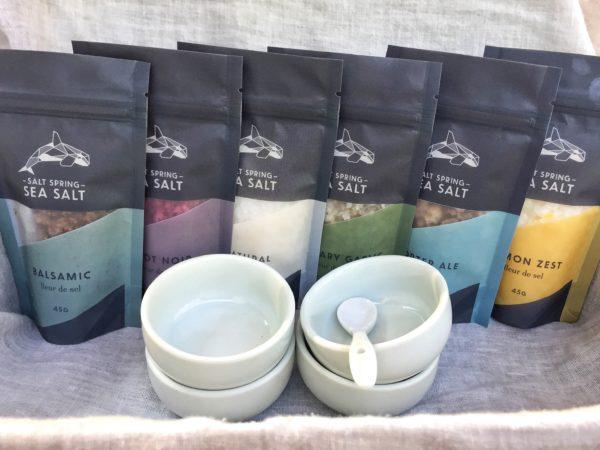 Salt Spring Sea Salt Six Pack with bowls fleur de sel